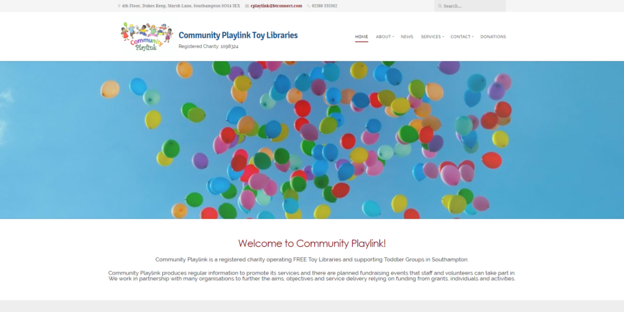 Website for the Community Playlink Children's Charity